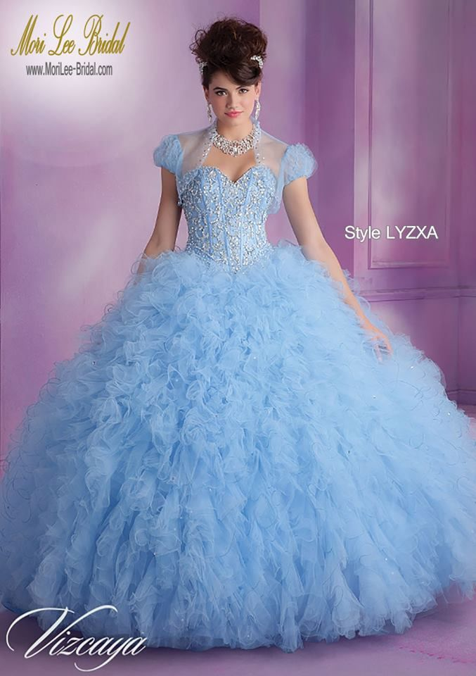 7e75803f1ef Style LYZXA Satin and Ruffled Tulle Quinceanera Dress with Beading Bolero  Jacket. Corset Tie Back. Colors Available  Bahama Blue