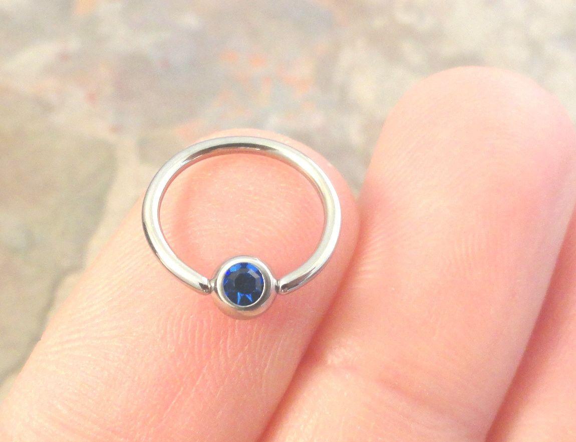 16 Gauge Shire Blue Cartilage Hoop Earring Tragus