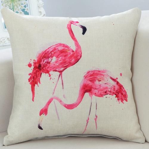 Pillow Cushion Cover For Flamingo Lovers Flamingo Throw Pillows Throw Pillow Styling Cotton Linen Cushion