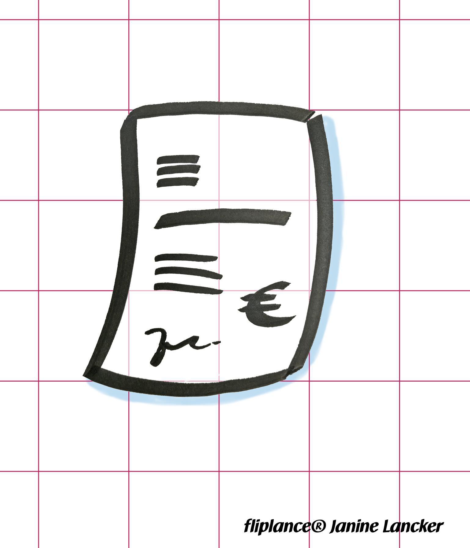 Eine Rechnung Papier Brief Formular Am Flipchart Zeichnen By
