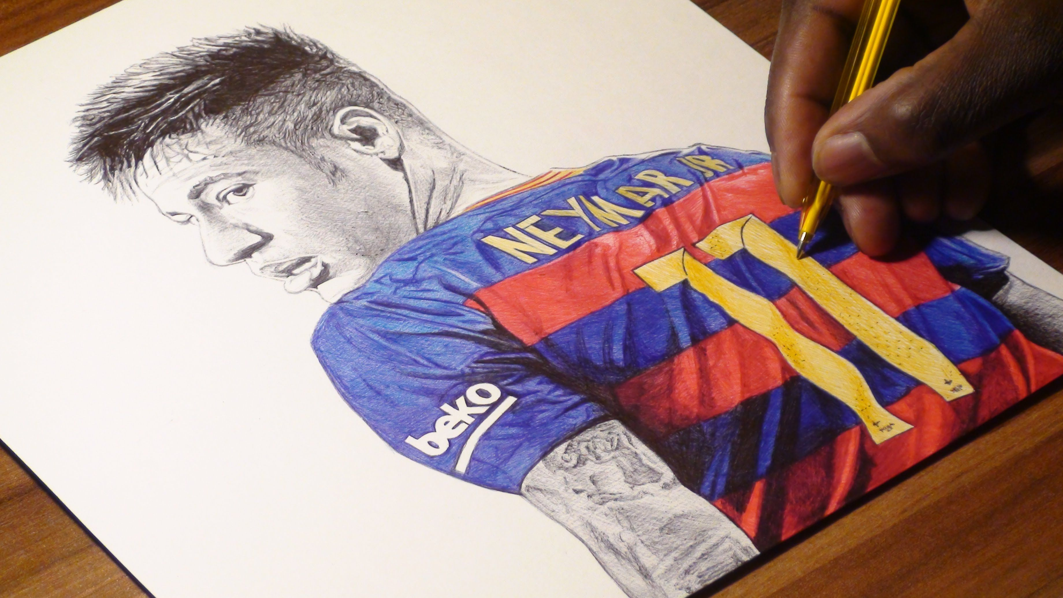 Neymar júnior ballpoint pen drawing fc barcelona freehand art