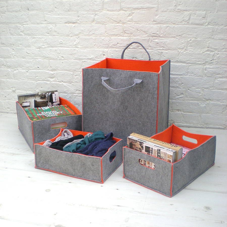 Portrait Of Felt Storage Bins Offering Stylish Storage For Your Home  Decorations