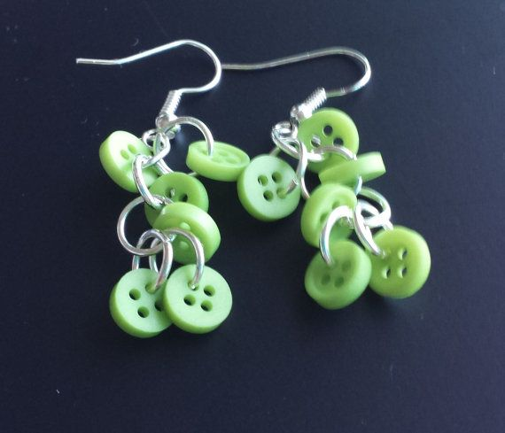 Cute dangle earrings with small green buttons by OceanLaneDesigns, $10.00