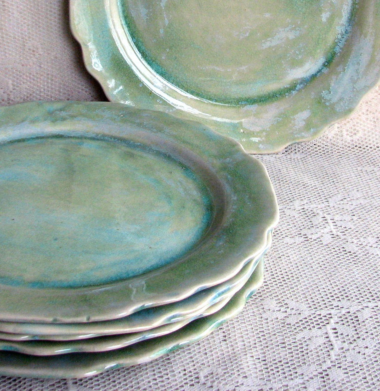 Set of Six cut edge plates Handmade stoneware plates dinner plates dinnerware stoneware plates by Leslie Freeman & Set of Six cut edge plates Handmade stoneware plates dinner plates ...
