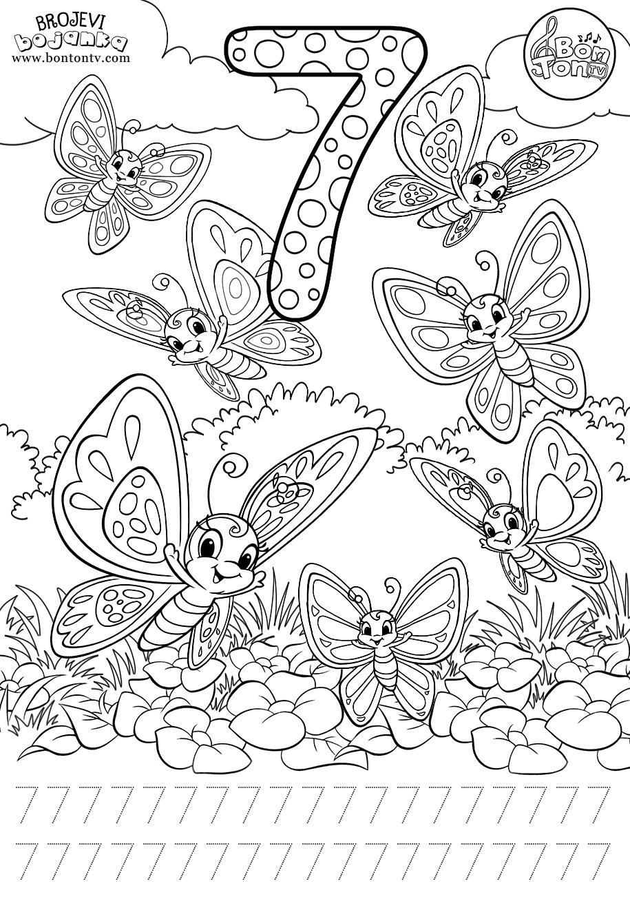 Number 7 - Preschool printables - worksheets coloring ...