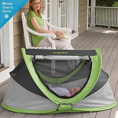 PeaPod Plus Baby Travel Bed   Item #:20670  $89.95  Read 44 Reviews    Bye-bye, hard, bulky play yards—we'll take our comfortable, portable, soft cocoon of a baby travel bed instead! Babies love its cushy, inflatable mattress, and it all folds into a compact tote for easy carrying. Our travel bed lives on longer than play yards; kids love its cozy confines, so it makes a great play tent later! Outdoor-friendly: the mesh bubble blocks bugs, wind, and half of UV rays. Tote included. Mattress…