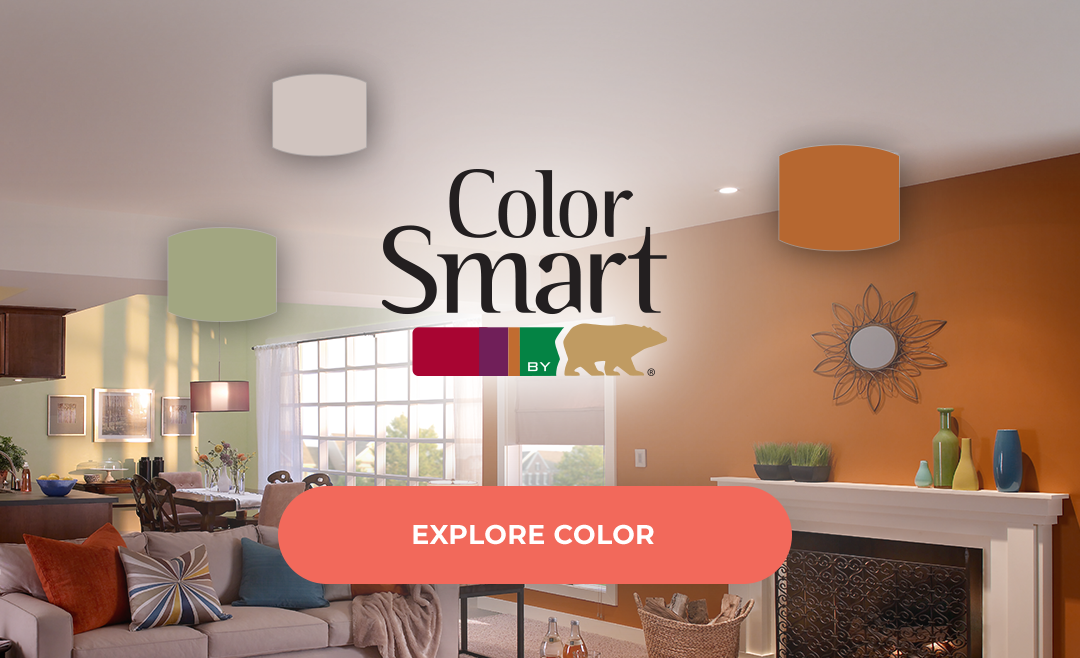 Color Smart By Behr With Orange Living Room In The Background Paint Color Visualizer Paint Color Chart Behr Colors