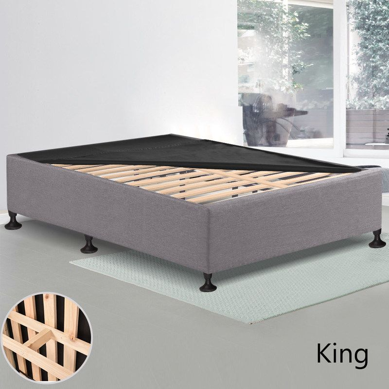 King Mdf Wood Fabric Slatted Bed Base Charcoal Bed Slats Bed