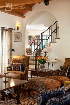 Old California Mission Revival Mediterranean Living Room Santa Barbara Maraya Interior Design