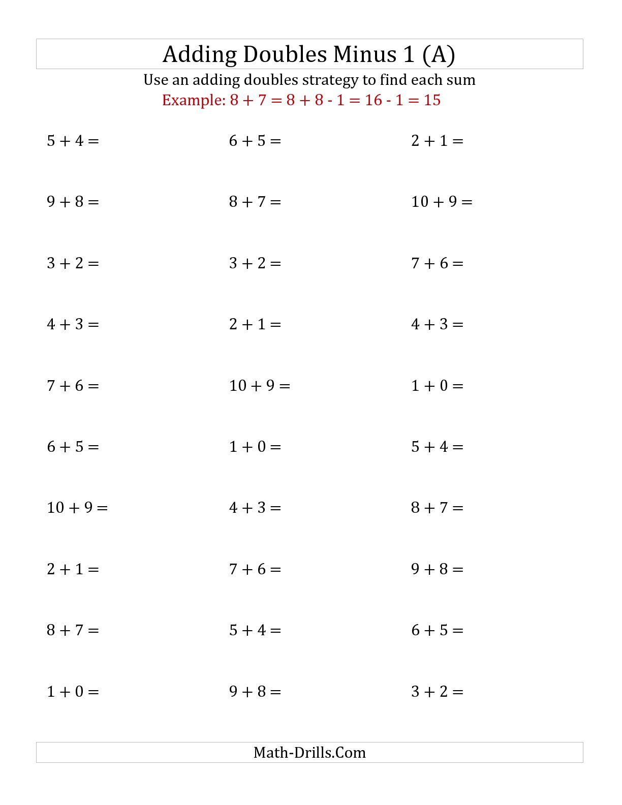 The Adding Doubles Minus 1 Small Numbers A Math Worksheet From The Addition Worksheet Page