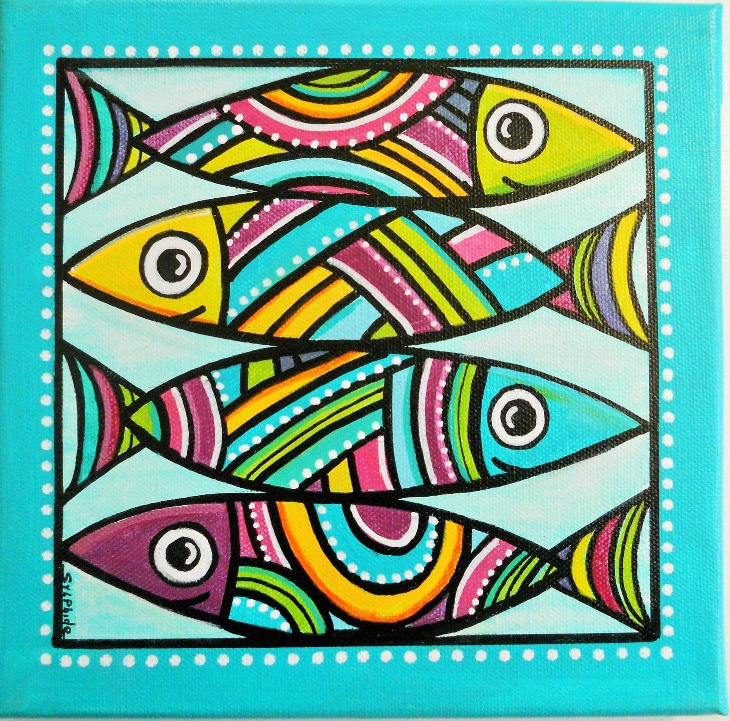 les sardines un tableau de poissons color s d corations murales par sylphide sylphide. Black Bedroom Furniture Sets. Home Design Ideas