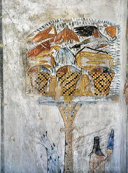Egypt, Thebes, Luxor, Valley of the Kings, Tomb of Tausert  or Tawosret , mural painting of table of offerings, from twentieth dynasty