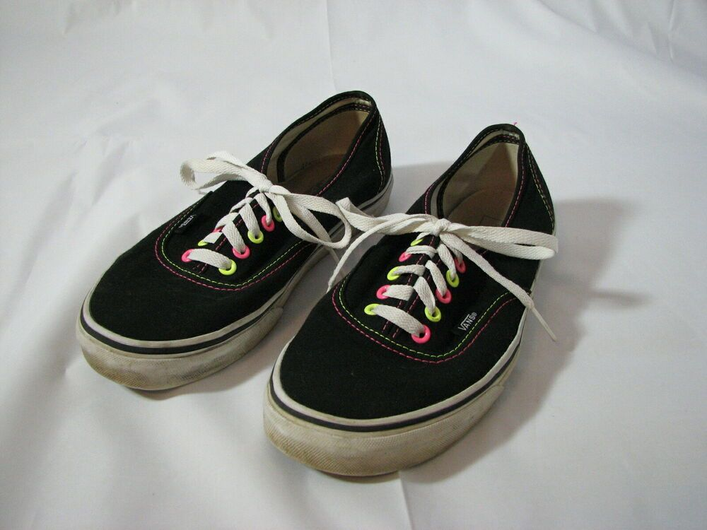 VANS Shoes Lace Up Sneakers Black with Fluorescent Neon