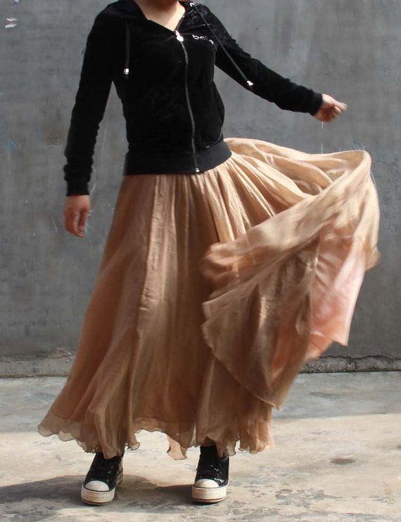mousseline de soie jupe maxi---jupe longue jupe rose dorée plissée jupe Jupe de printemps
