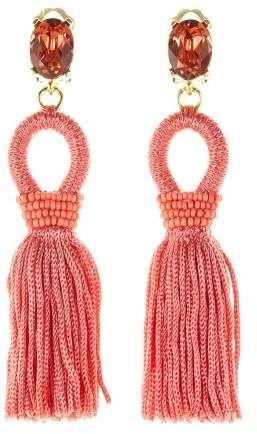 5358b5cee Coral Short Silk Tassel Earrings | Products | Earrings, Clip on ...
