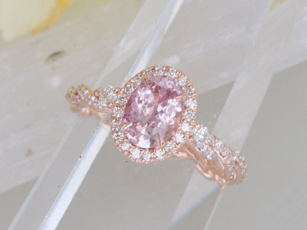 Padparadscha color sapphire rose gold engagement ring rose gold