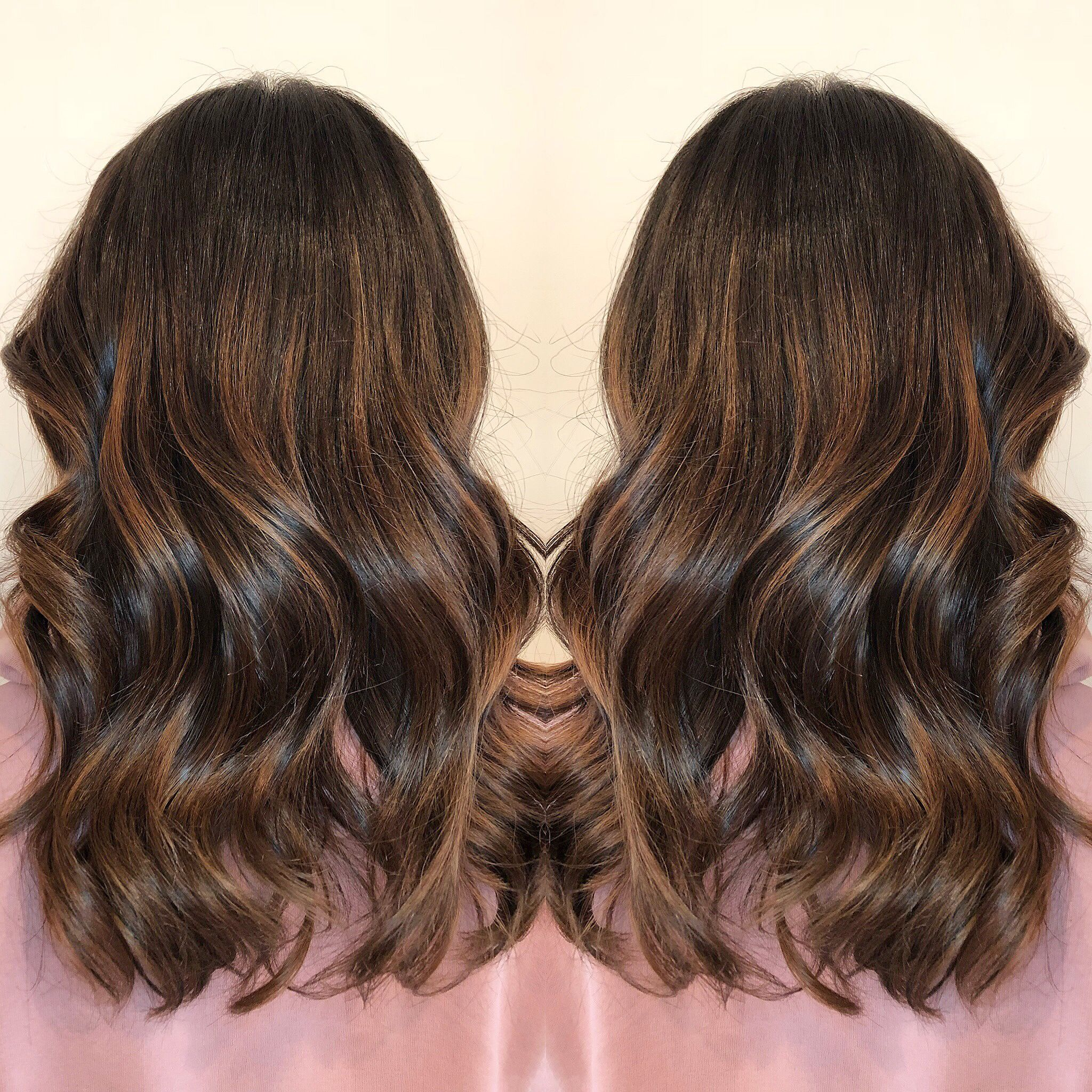 Caramel Balayage Ombre Fall Hair 2017 Medium Length Curls Wand Style Blonde Highlights Brunette