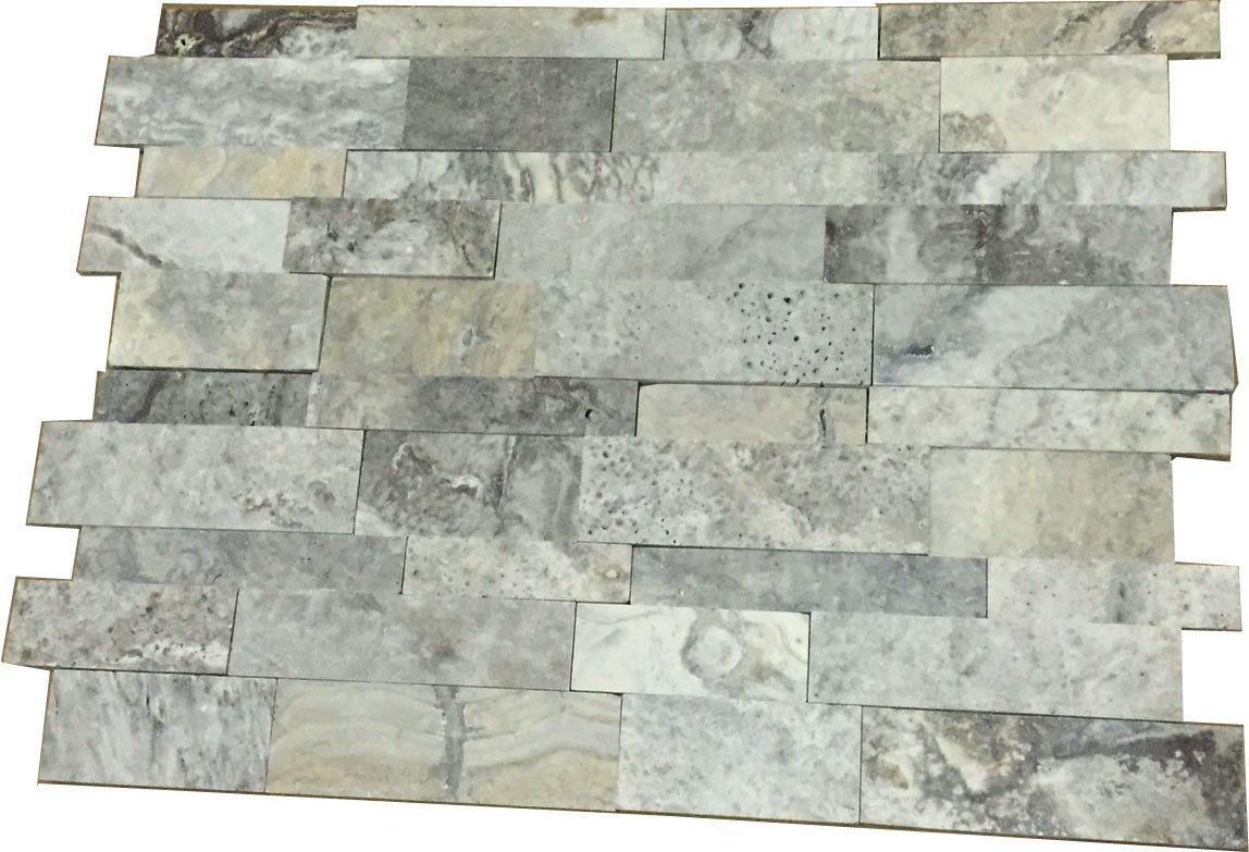 Silver Travertine 7x20 Ledger Panels Split Face Wall Tiles