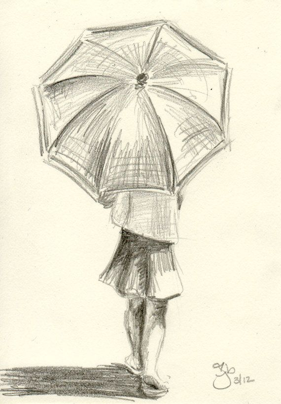 girl with umbrella 4x6 pencil study on etsy. Black Bedroom Furniture Sets. Home Design Ideas