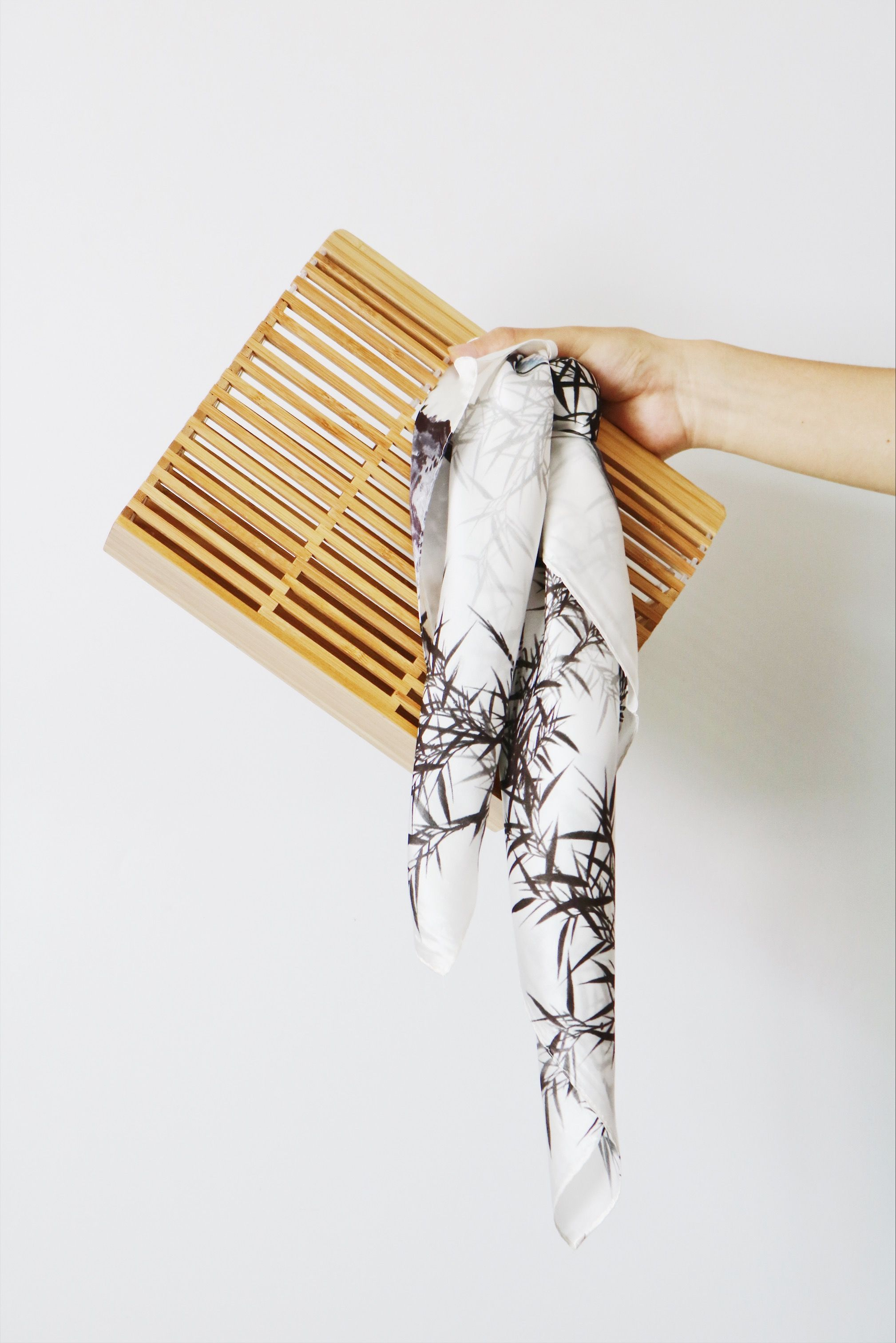 e25e921dd27 How to tie a silk scarf on your bag! Bamboo Print Off White Silk ...