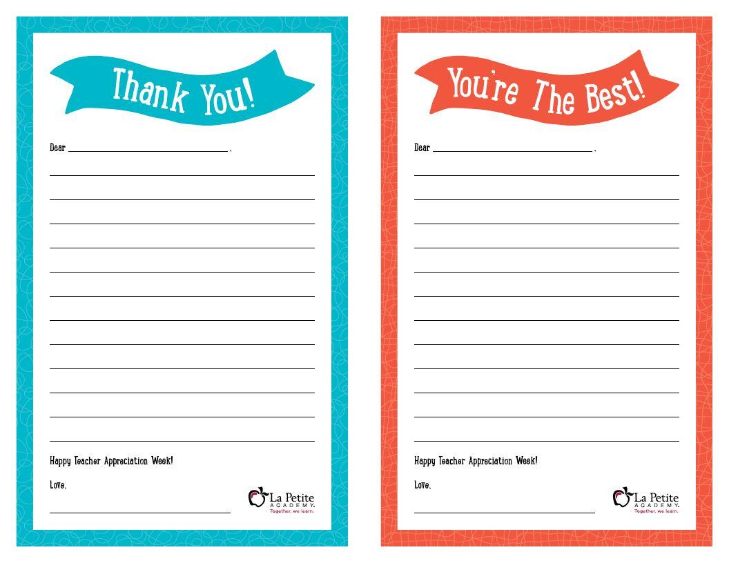Teacher Appreciation Week Free Printable Teacher Thank You Notes Teacher Appreciation Cards Thank You Note Template