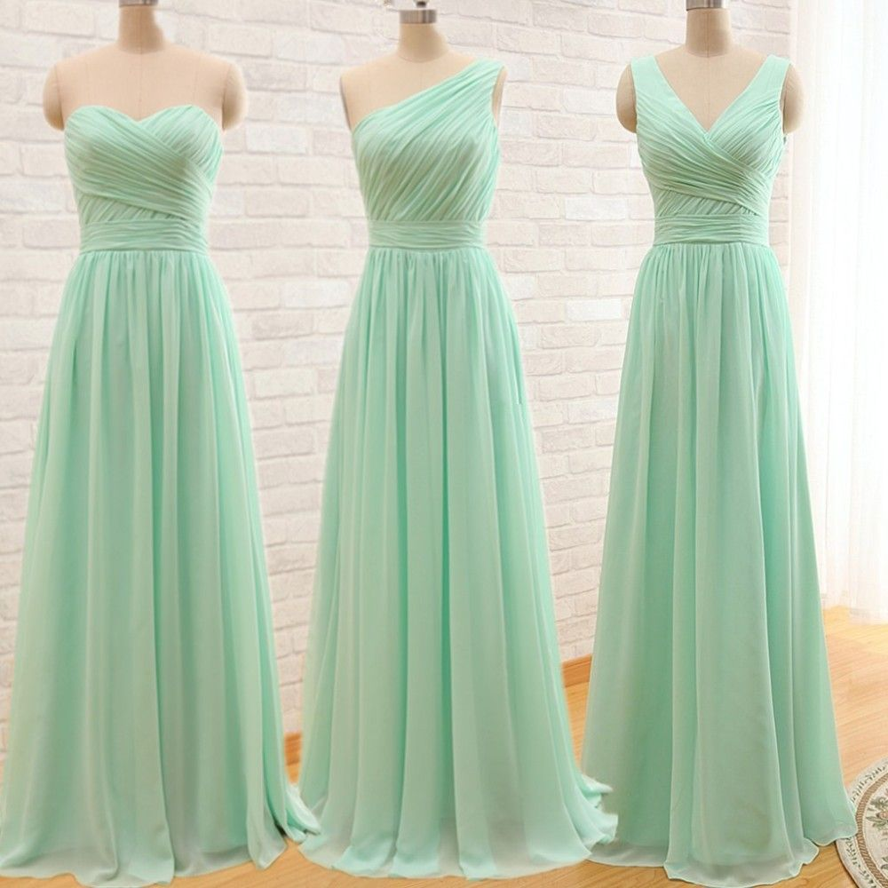 Elegant Cheap Long Mint Green Bridesmaid Dresses 2015 Wedding Party Dresses Long Vestido De Festa