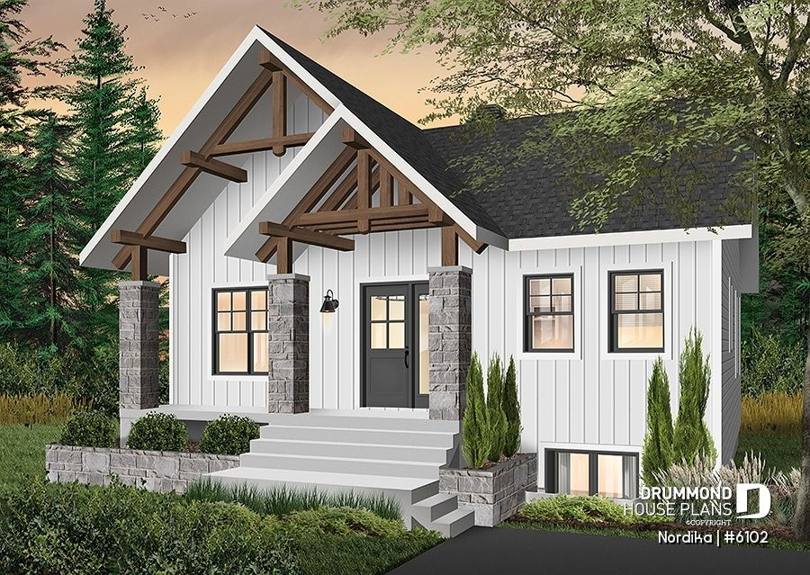 Discover The Plan 6102 Nordika Which Will Please You For Its 1 2 3 Bedrooms And For Its Modern Rustic Styles Cottage Style House Plans Rustic House Plans Modern Style House Plans