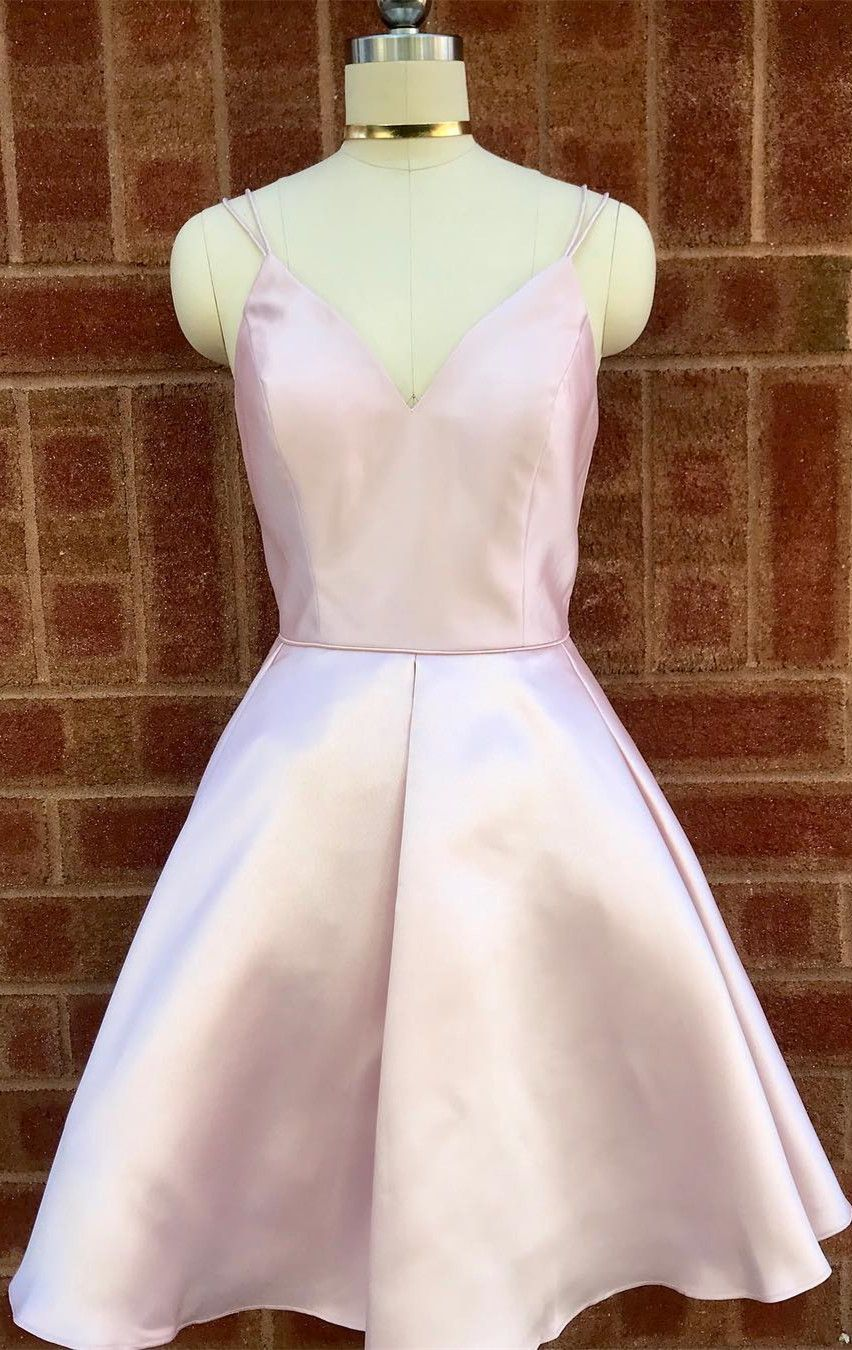 V neck straps short pink homecoming dress in prom dresses