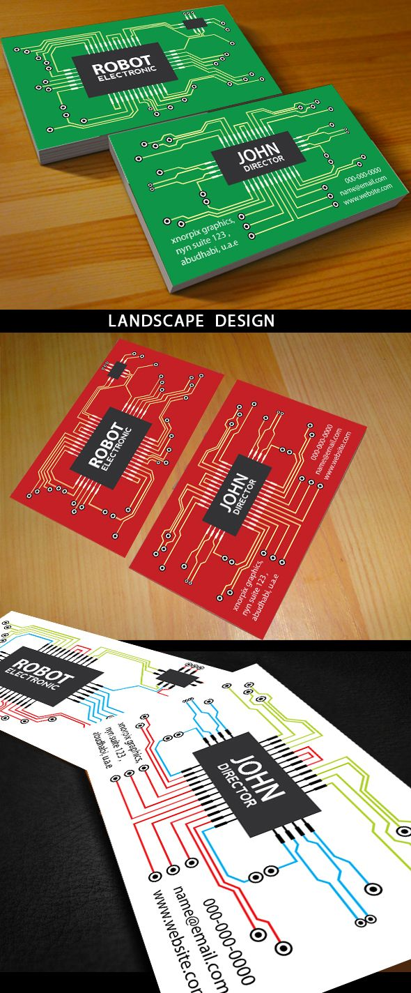 Pin by zoris velasquez on design pinterest business cards free amazing electronic business card design on electronic circuit board background in three different color schemes easy to edit optimized for printing 300 wajeb Choice Image