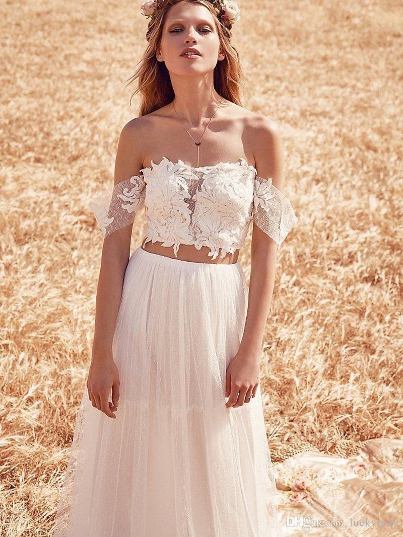 Crop Top Two Pieces Wedding Dresses 2015 New Arrival Off Shoulder ...