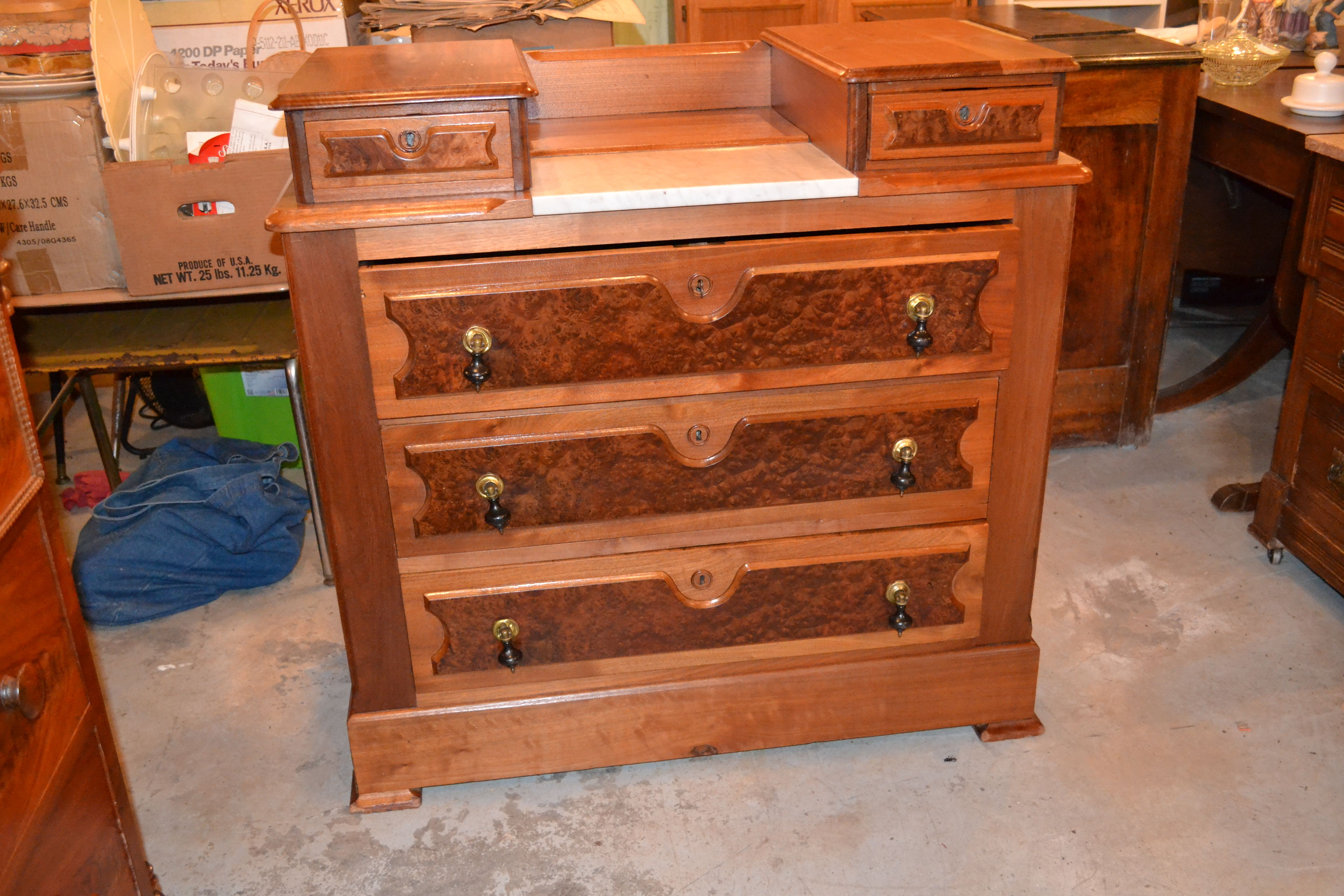 another ca 1875 dresser with glove boxes this one has burl