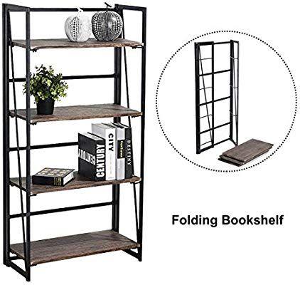 Amazon Coavas Folding Bookshelf Rack 4 Tiers Bookcase Home Office Shelf Storage No Assembly Industrial Stand Sturdy Organizer 236 X 116