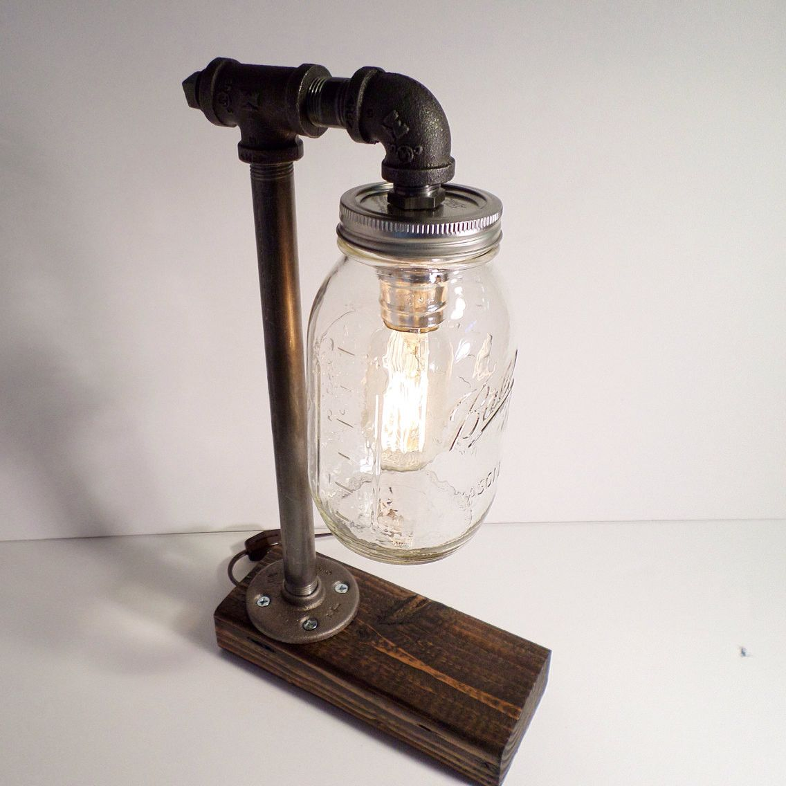 Mason Jar Industrial Steampunk Table Lamp With Weathered