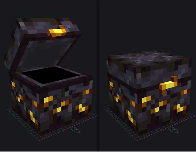 I Made A Concept For A Piglin Chest That Will Appear In Nether Bastions Instead Of Normal Chests What Minecraft Designs Minecraft Addons Minecraft Creations