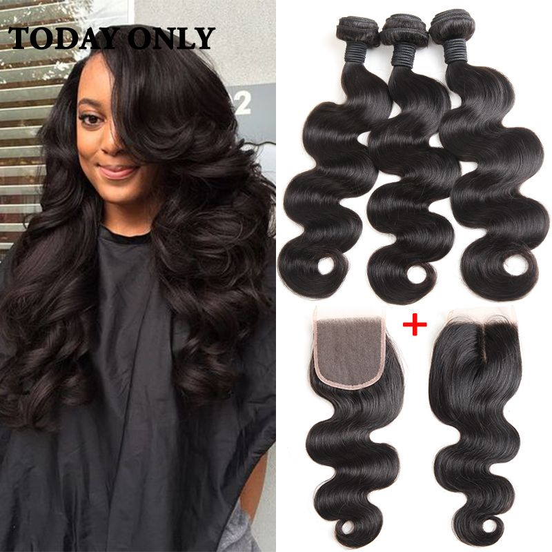 Brazilian Body Wave with Closure 10A Unprocessed Virgin Brazilian Hair with Closure Queen Hair Products with Closure Bundle