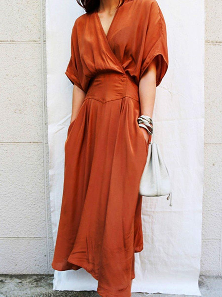Surplice Plain Maxi Dress Maxi Dress Maxi Dresses Casual Solid Maxi Dress [ 1200 x 900 Pixel ]