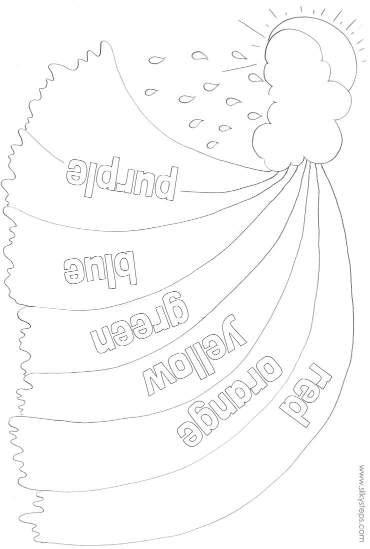 outline rainbow colour names for preschool collage activities