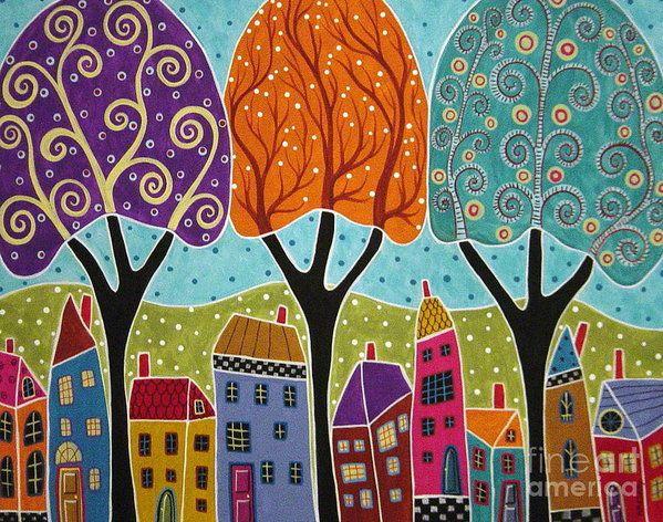 Houses Trees Folk Art Abstract Art Print by Karla Gerard