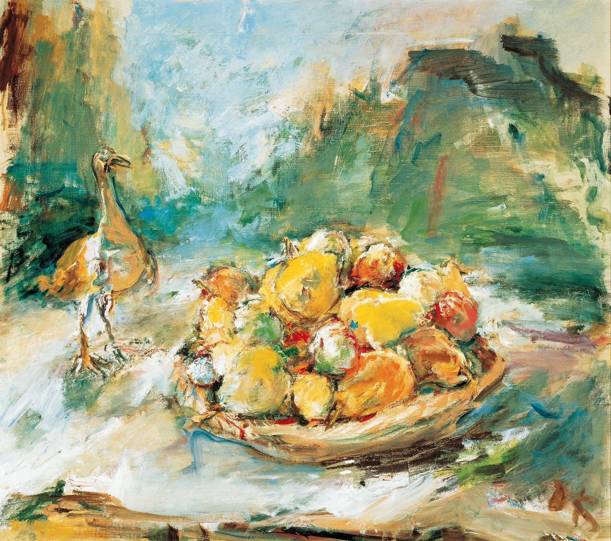 Oskar Kokoschka | Stillleben mit Früchten und Vogel - Still Life with Fruit and Bird | 1964, © Albertina, Wien