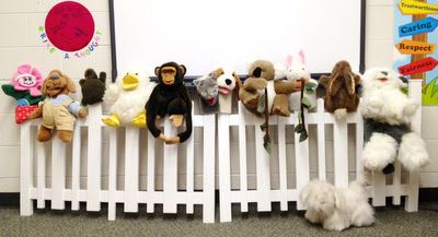 Got puppets?  Lots of puppets?  I purchased this vinyl picket fence to display my many puppets.  It's a perfect fit in my small Guidance office!