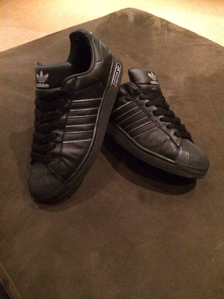 1ce89b2c5449 Adidas Shell Toe Trainers, Black Leather, Black Shell, Size Uk 10 ...