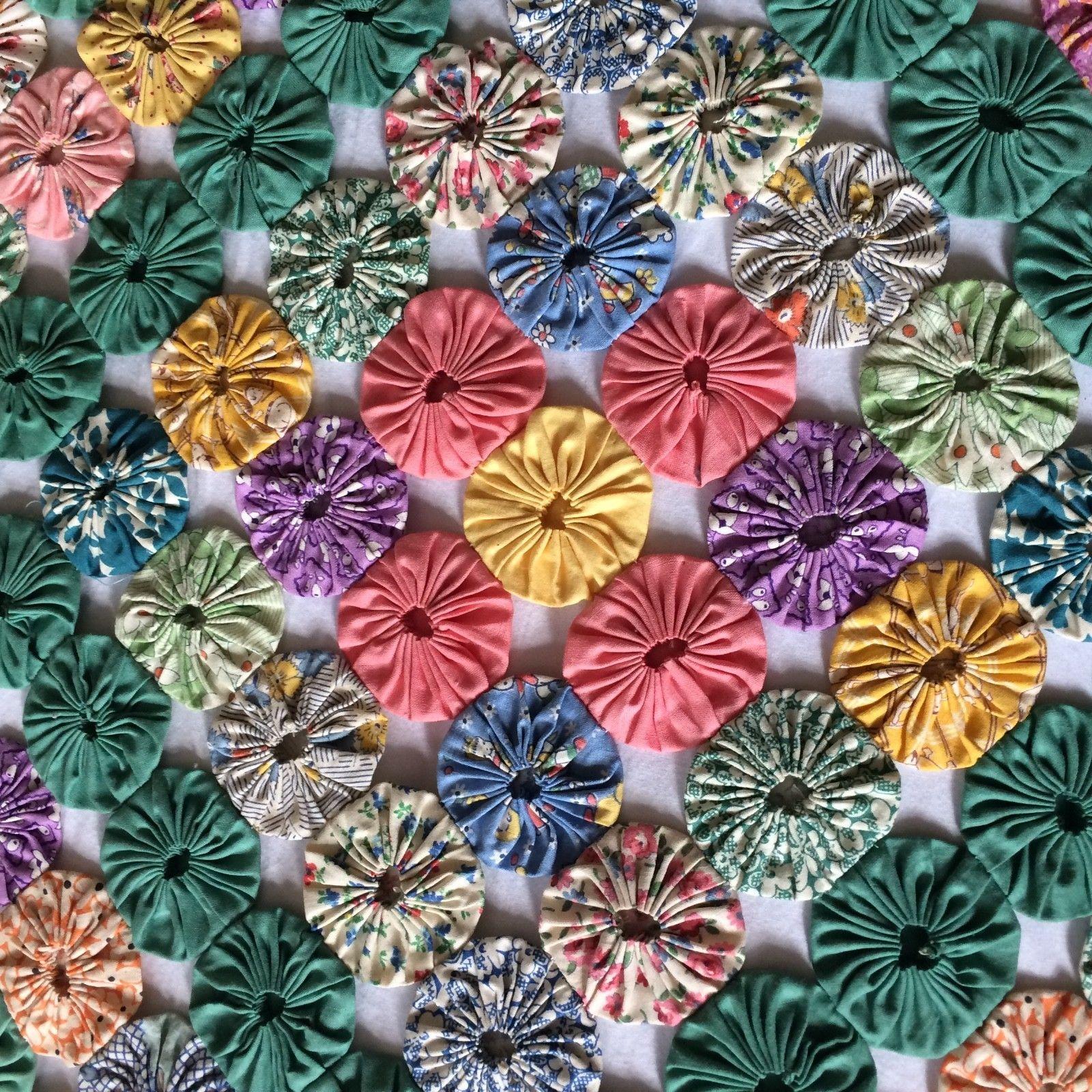 ANTIQUE vtg YO YO quilt hand made FEEDSACK diamond pattern 87x89