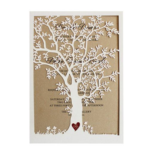 Laser Cut Tree Wedding Invitation