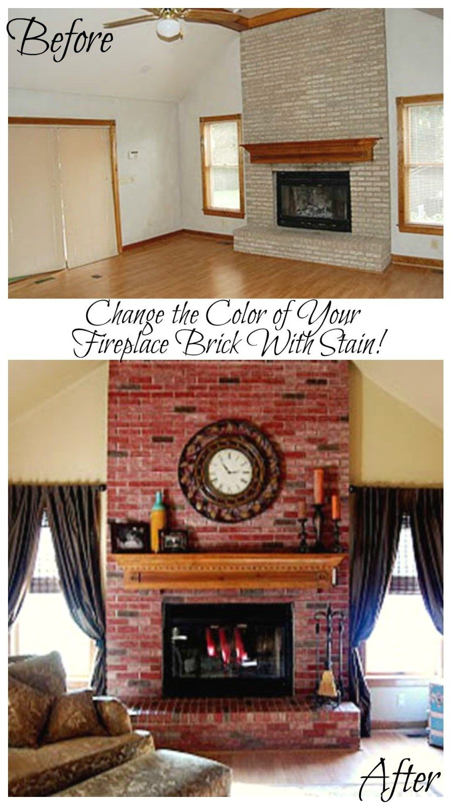 Change The Color Of Your Fireplace Brick With Stain It Can Completely Look And Room Featured On Remodelaholic