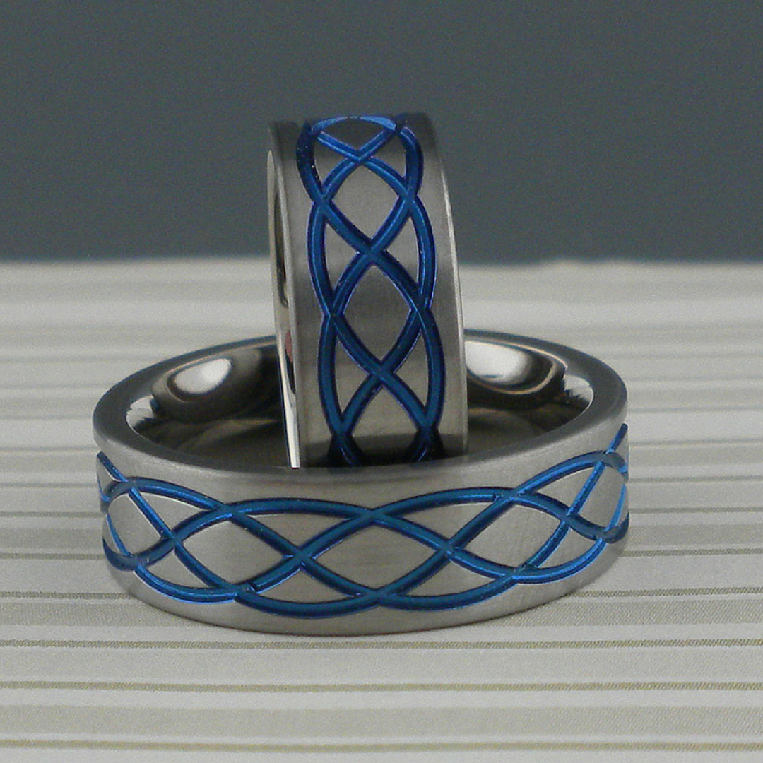 Flat profile Zirconium Anodized Celtic Knot Wedding Rings