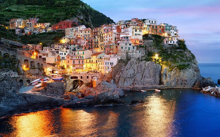 Lataa kuva Manarola, rannikolla, yö, Ligurian Sea, Italia