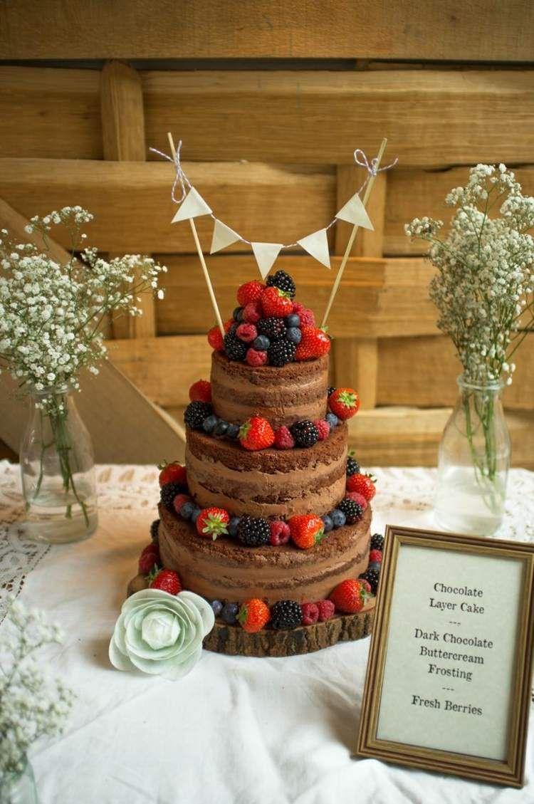 Hochzeitstorte Ohne Fondant Schokokuchen Beeren Blaubeeren Erdbeeren