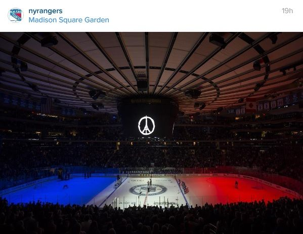 nyrangers Moment of silence for all those affected by the tragedies in Paris. #PrayForParis