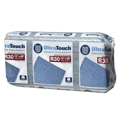 Ultratouch R 30 Denim Insulation Batts 15 In X 48 In 12 Bags 10003 03015 The Home Depot Insulation Fiberglass Insulation The Home Depot