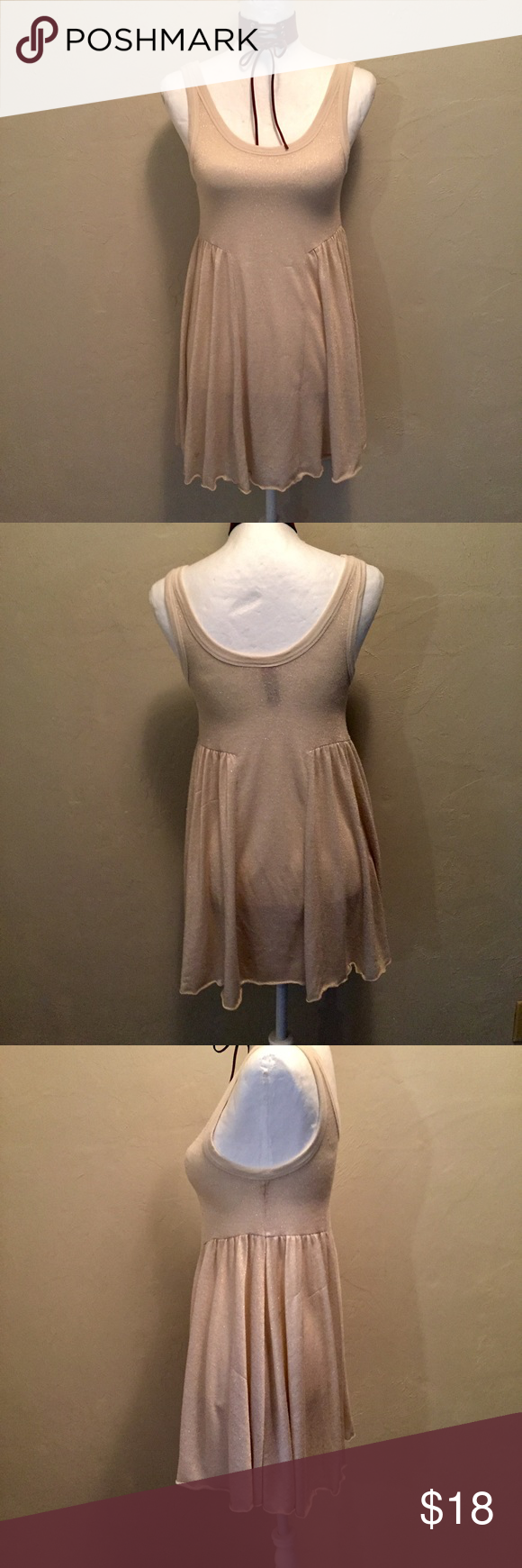 Free People Beach cruise Mini XS Size XS, cotton, rayon, Knit, gold threading makes the dress stand out adorable pull over with a skirted bottom, fully lined Free People Dresses Mini